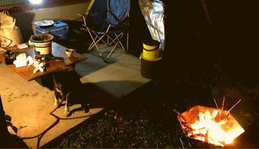 愛犬と倉庫の横でキャンプをする